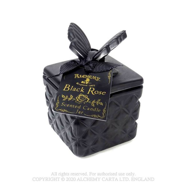 Glass Scented Candle Jar - Black Rose - Small Butterfly