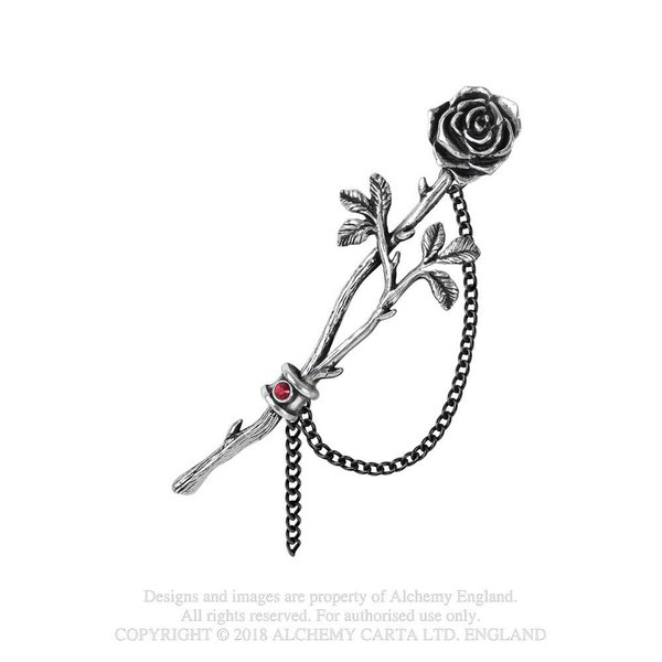 Earwrap Rose mit Kette, roter Stein