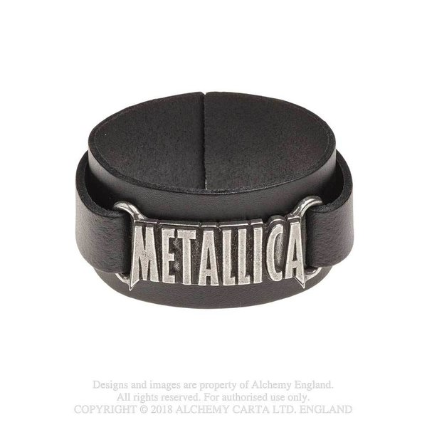 Alchemy Rocks : Leather Wriststrap : Metallica Logo